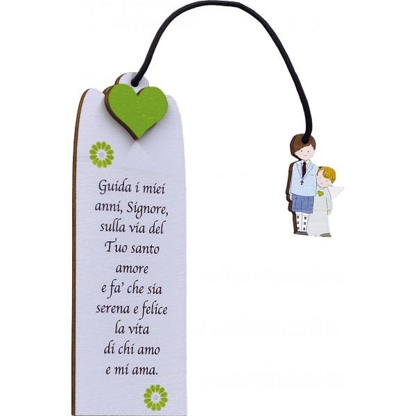 Segnalibro Frase su legno Colorato con pendaglio - personalizzabile - modello D - Prima Comunione
