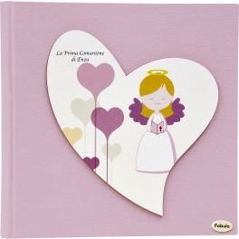 Album per foto Cuore Comunione Rosa - Personalizzabile - Prima Comunione