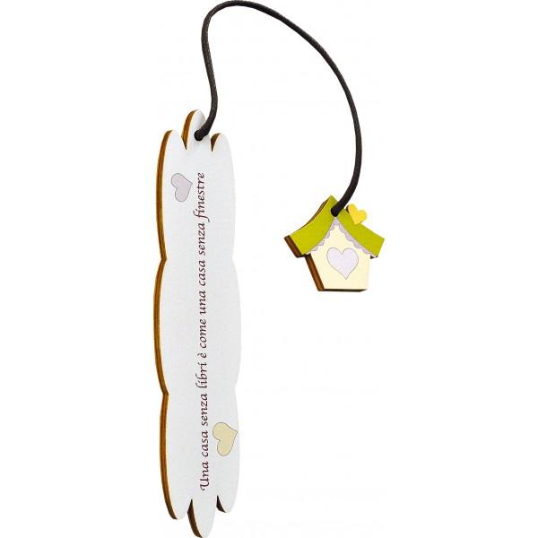 Segnalibro Frase su legno con pendaglio - personalizzabile - modello F