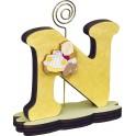 Portafoto lettera Iniziale Nome con applicativo in legno a scelta e supporto fiore o cuore o spirale - modello A16