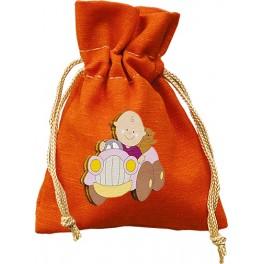 Sacchettino per confetti o potpourri in Tessuto 184 Arancione + Magnete in Legno applicativo A16 personalizzabile
