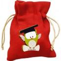 Sacchettino per confetti o potpourri in Tessuto 258 Rosso + Magnete in Legno applicativo A72 personalizzabile