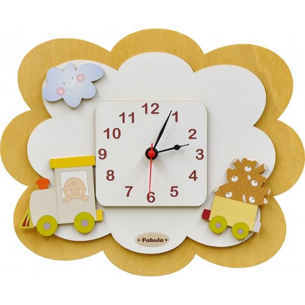 Orologio mini in legno da parete colore bianco sabbia for Scritte in legno da parete