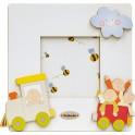 Fabula - Cornice Fotografica da Tavolo Piatta in Legno Bianco - personalizzabile - modello G - Linea Baby Trenino