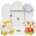 Fabula - Cornice Fotografica da Tavolo Sagomata in Legno - personalizzabile - modello G - Linea Baby Trenino