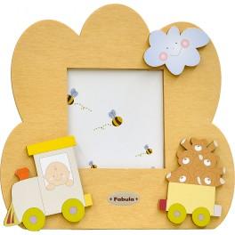 Fabula - Cornice Fotografica da Tavolo Sagomata in Legno - personalizzabile - modello H - Linea Baby Trenino