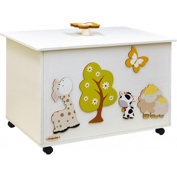 Fabula - Portagiochi 60 in legno Bianco - dimensioni cm 62x44x38- Cod. Art. 161002 - Linea Albero Verde