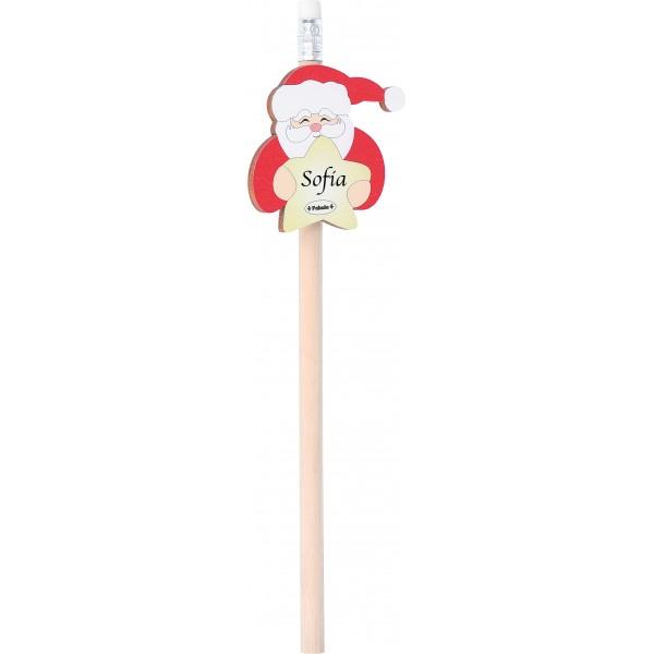 Fabula - Matita Natalizia con Gomma Bianca e applicativo in legno personalizzabile - Cod. Art. 187103C - Linea Natale