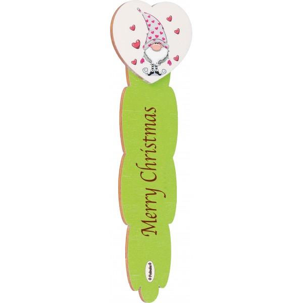 Fabula - Segnalibro in Legno con frase personalizzata  e applicativo in legno - Cod. Art. 187104I - Linea Natale