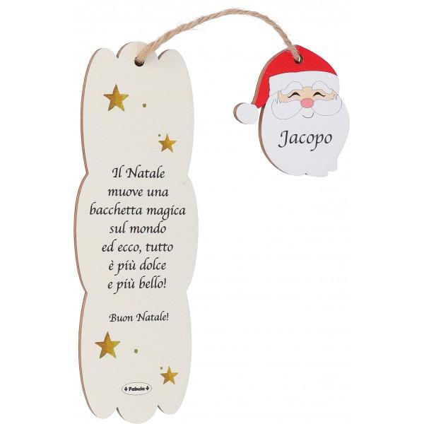 Fabula - Segnalibro Natalizio in Legno con frase personalizzabile  e pendaglio in legno - Cod. Art. 187105E - Linea Natale
