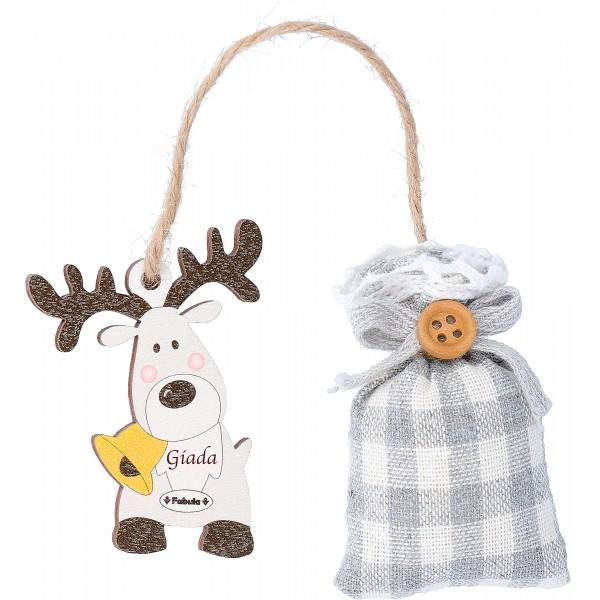 Fabula - Segnalibro Natalizio in Legno con Sacchetto Profumato al Lino  e pendaglio in legno - Cod. Art. 187107N - Linea Natale