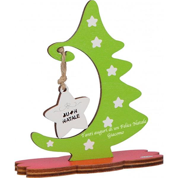 Fabula - Albero di Natale da tavolo in legno - personalizzabile con vs frase di auguri - altezza cm 15 - Cod. Art. 187132C