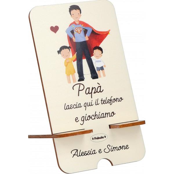Fabula Festa del Papa' - Porta Cellulare in legno con dedica o nomi personalizzati - modello C