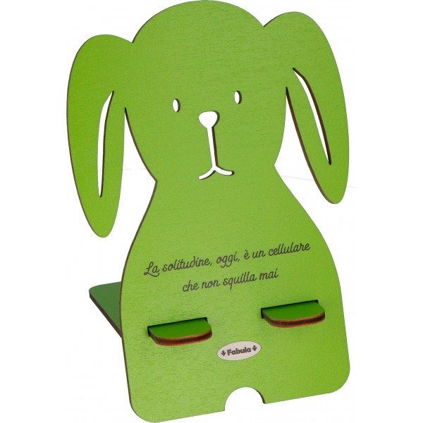 Fabula - Porta Cellulare Cane in legno con frase e nomi personalizzati - modello A