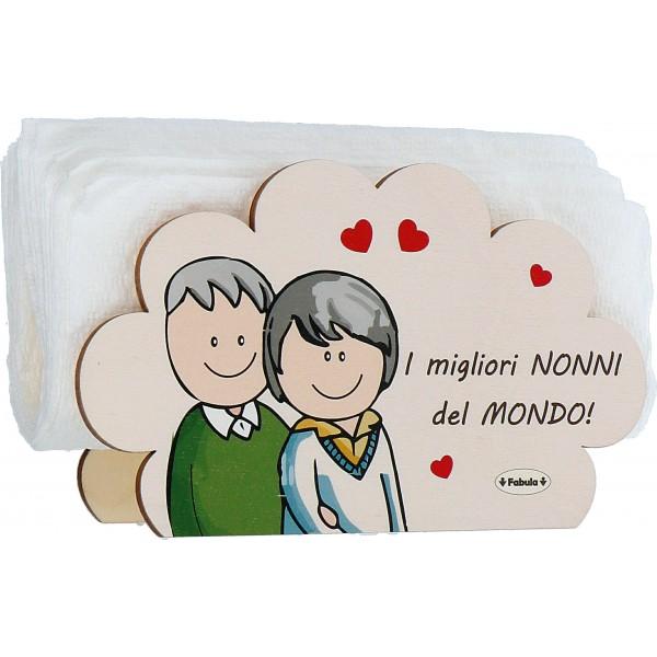 Fabula Festa dei Nonni - Porta tovaglioli in legno naturale con dedica personalizzata - modello D