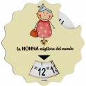 Fabula Festa dei Nonni - Disco Orario in legno naturale con frase personalizzata - modello C
