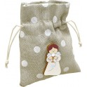 Sacchetto in tessuto 254 Pois Bianco + Magnete in legno Angelo Calice - Prima Comunione