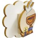 Mollettina in legno con magnete Calice Panna