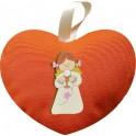 Cuore in Tessuto 184 Arancione con Magnete in Legno personalizzabile Angela Calice