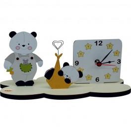 Panda - Orologio da Tavolo con supporto per Foto